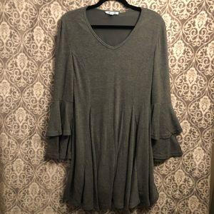She + Sky Gray ruffle sleeve dress Sz M